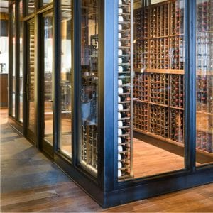 Steel and Glass Wine Cellar Close Up