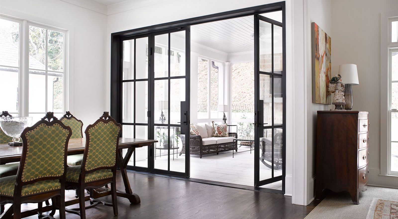 Steel and Glass French Door in Buckhead Residence