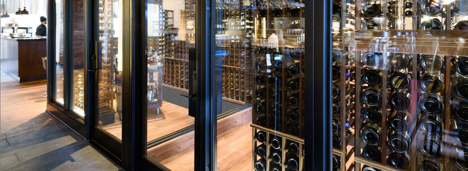 Steel and Glass Wine Cellar